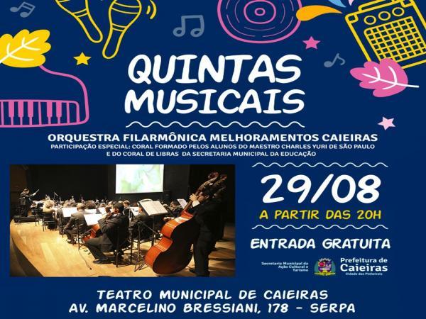 Orquestra Melhoramentos realiza apresentação no 'Quintas Musicais', em Caieiras