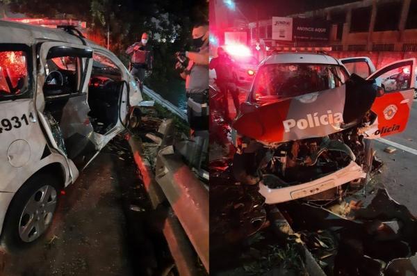 Policiais ficam feridos ao baterem viatura durante perseguição em Jundiaí